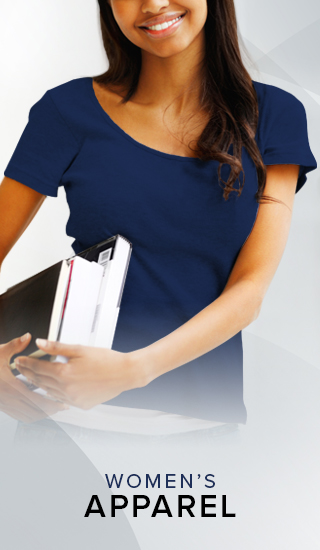 Picture of a woman holding textbooks. Click to shop Women's Apparel.